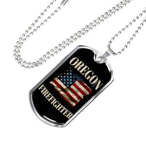 Oregon Firefighter Personalized Engraved Dog Tags Pendant Necklace For Men & Women