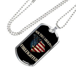 South Carolina Firefighter Personalized Engraved Dog Tags Pendant Necklace For Men & Women