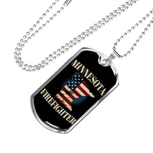 Minnesota Firefighter Personalized Engraved Dog Tags Pendant Necklace For Men & Women