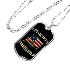 Connecticut Firefighter Personalized Engraved Dog Tags Pendant Necklace For Men & Women