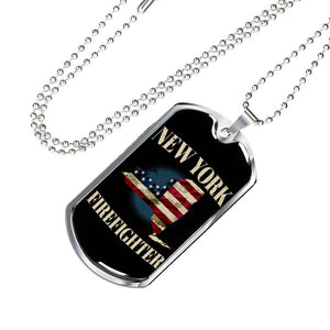 New York Firefighter Personalized Engraved Dog Tags Pendant Necklace For Men & Women