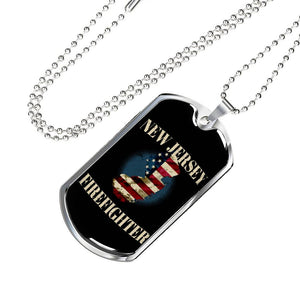 New Jersey Firefighter Personalized Engraved Dog Tags Pendant Necklace For Men & Women