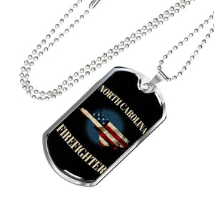 North Carolina Firefighter Personalized Engraved Dog Tags Pendant Necklace For Men & Women
