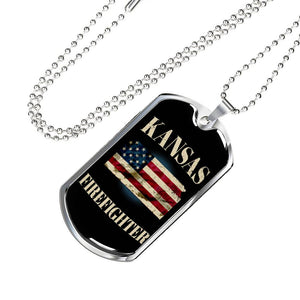 Kansas Firefighter Personalized Engraved Dog Tags Pendant Necklace For Men & Women