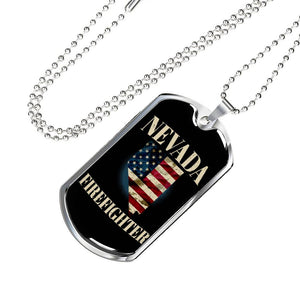 Nevada Firefighter Personalized Engraved Dog Tags Pendant Necklace For Men & Women