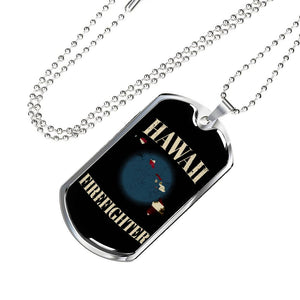 Hawaii Firefighter Personalized Engraved Dog Tags Pendant Necklace For Men & Women
