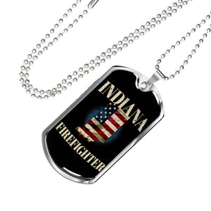 Indiana Firefighter Personalized Engraved Dog Tags Pendant Necklace For Men & Women