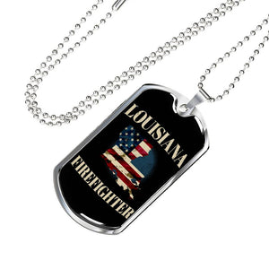 Louisiana Firefighter Personalized Engraved Dog Tags Pendant Necklace For Men & Women