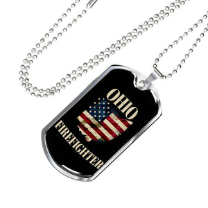 Ohio Firefighter Personalized Engraved Dog Tags Pendant Necklace For Men & Women