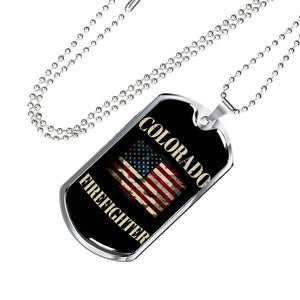 Colorado Firefighter Personalized Engraved Dog Tags Pendant Necklace For Men & Women