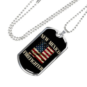 New Mexico Firefighter Personalized Engraved Dog Tags Pendant Necklace For Men & Women