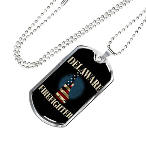 Delaware Firefighter Personalized Engraved Dog Tags Pendant Necklace For Men & Women