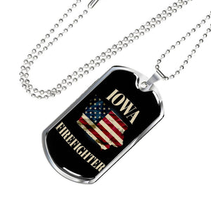 Iowa Firefighter Personalized Engraved Dog Tags Pendant Necklace For Men & Women