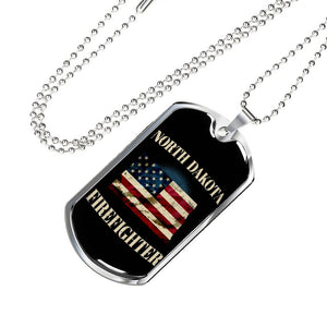 North Dakota Firefighter Personalized Engraved Dog Tags Pendant Necklace For Men & Women