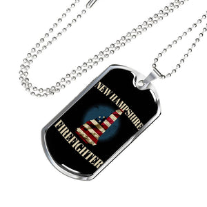New Hampshire Firefighter Personalized Engraved Dog Tags Pendant Necklace For Men & Women