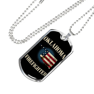 Oklahoma FIrefighter Personalized Engraved Dog Tags Pendant Necklace For Men & Women