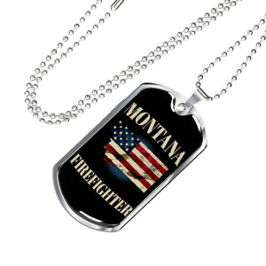 Montana Firefighter Personalized Engraved Dog Tags Pendant Necklace For Men & Women