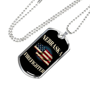 Nebraska Firefighter Personalized Engraved Dog Tags Pendant Necklace For Men & Women