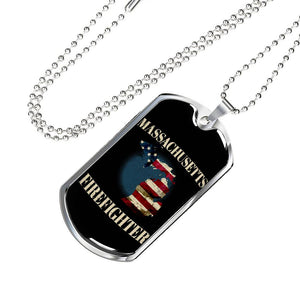 Massachusetts Firefighter Personalized Engraved Dog Tags Pendant Necklace For Men & Women