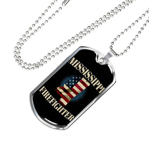 Mississippi Firefighter Personalized Engraved Dog Tags Pendant Necklace For Men & Women