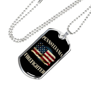 Pennsylvania Firefighter Personalized Engraved Dog Tags Pendant Necklace For Men & Women