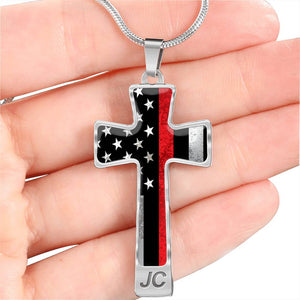 Thin Red Line Cross Engraved Necklace For Men & Women