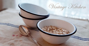 White Enamel Bowls for a Vintage Farmhouse Kitchen