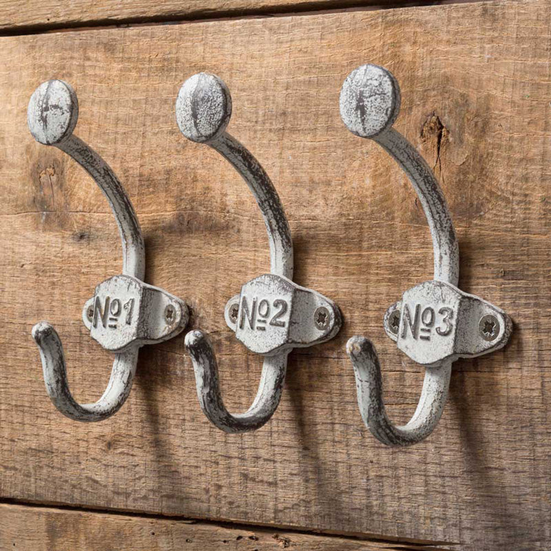 Aged Metal Numbered Coat Hooks