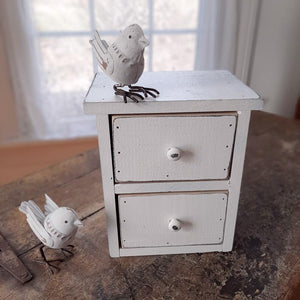"Our Weathered White Tabletop Drawers will quickly become a farmhouse favorite. Keep one on the kitchen counter to stash away tea bags, or use in an entryway to keep keys tucked out of sight. It's perfect for craft or office supplies, jewelry and more. These sturdy wood drawers feature a beautifully aged and distressed finish. 7.5""L x 5.5""W x 8.5""H  Made in the USA"