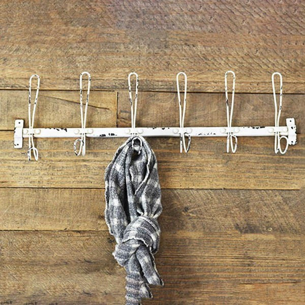 Antique White Wire Coat Hook Hanger