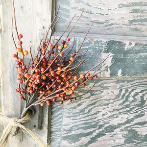 "Add a rustic touch to any bowl, basket or pot with our Rusty Berry Bush. The vibrant fall berries lends an earthy charm to any room in your farmhouse. This faux berry bush can easily tuck in to any bowl or basket to create a farm table centerpiece that will look beautiful in any season. 13"" H"