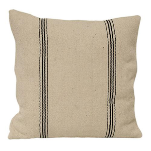 "This double-sided pillow case features a vintage, distressed style with ticking style black stripes on each side. The Black Stripe Grain Sack Pillow Case has the look of well-worn feed sack material. Its warm oatmeal color and black stripes give it French Country farmhouse charm. Zippered edge for easy removal. Machine Wash. 16"" Square Please note: This is just a pillow case and the insert form is not included."