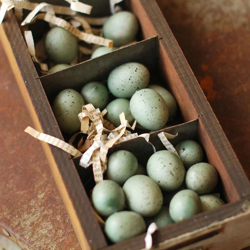 "Celebrate nature's beauty with this Speckled Bird Egg Set. These sweet, blue-green decorative eggs are perfect for adding a touch of spring to your farmhouse decor. Fill a wire backet, vase or bowl for an earthy look. Set of 24 in two sizes. Comes in clear bag with raffia ribbon. Box and wire basket not included. 1.5"" and 1.25"""