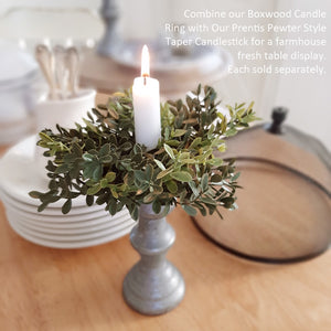 "Inspired by old colonial candle holders, our Prentis Pewter Style Taper Candle Holder is crafted with a simple elegance reminiscent of early American farmhouse finds. Made of metal with a distressed pewter-like look. Measures 5.5"" high by 2.5"" wide with a .875"" taper cup opening. Shown with Boxwood Candle Ring"