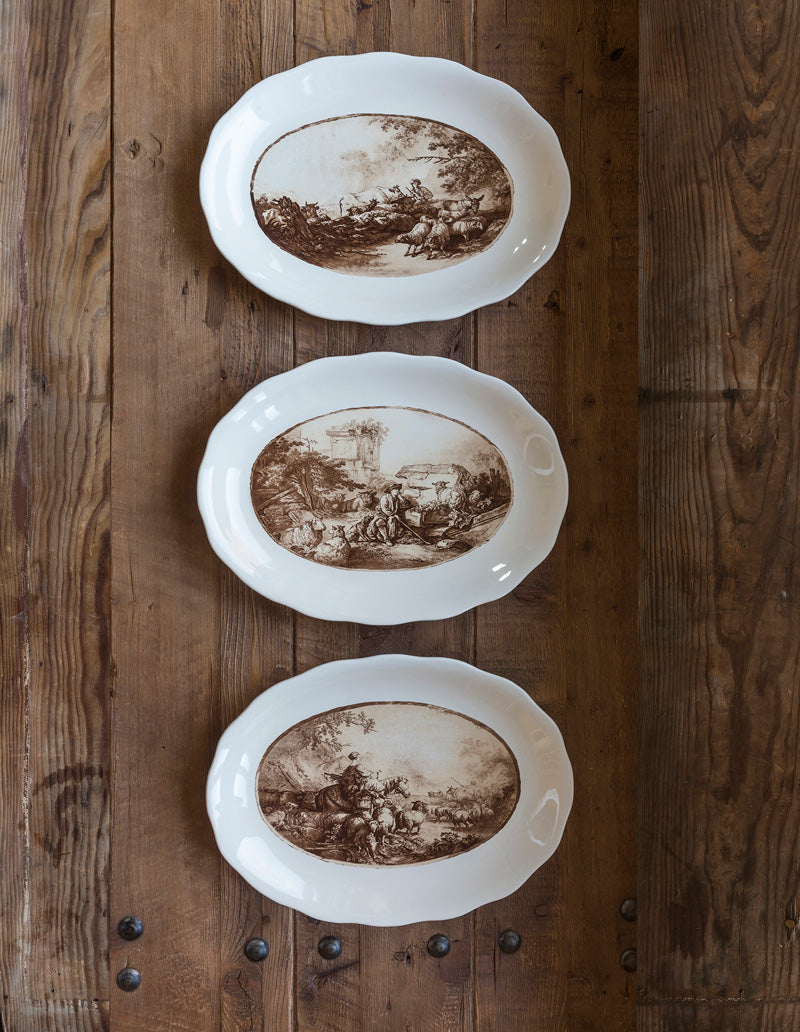Vintage Brown Transferware Platters, Set of Three