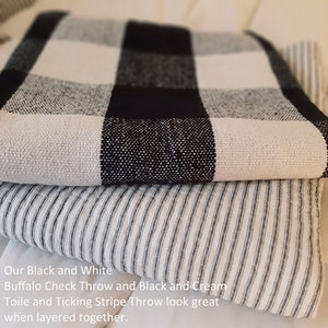 Black Toile and Ticking Stripe Quilted Throw