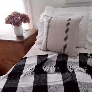 "This double-sided pillow case features a vintage, distressed style with ticking style black stripes on each side. The Black Stripe Grain Sack Pillow Case has the look of well-worn feed sack material. Its warm oatmeal color and black stripes give it French Country farmhouse charm. Zippered edge for easy removal. Machine Wash. 16"" Square"
