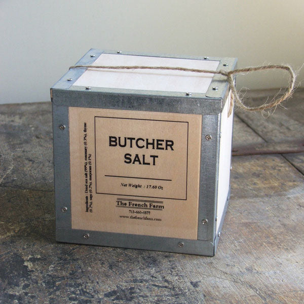 Butcher Salt Box combines course dried sea salt with rosemary, thyme, sage, and marjoram for savory flavor