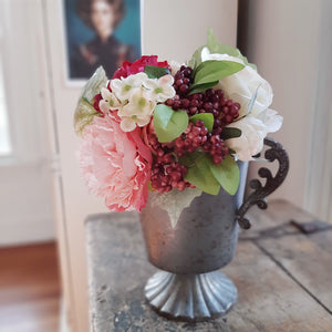 "Fill your farmhouse with spring's beauty year-round with our Cabbage Roses, Peony and Camellia Bouquet. The lushly layered colors and textures in this faux floral bouquet add an elegant touch to any room. The flowers and stems stand 12 inches tall and are made of a silky fabric, which give these flowers lifelike beauty.  These faux floral flowers will inspire lots of great ideas for any home stylist looking for natural accents without a lot of maintenance. 12""H"