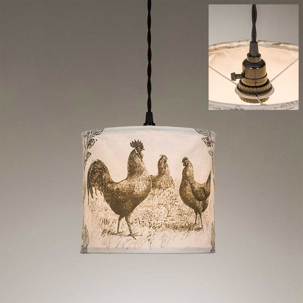 Our Canvas Chicken Pendant Light is perfect for any room in your farmhouse. It includes the 15½ foot cloth-covered lamp cord with switched socket, two finished ceiling hooks, two cord clamps for adjusting the height of the lamp, and easy-to-follow instructions.