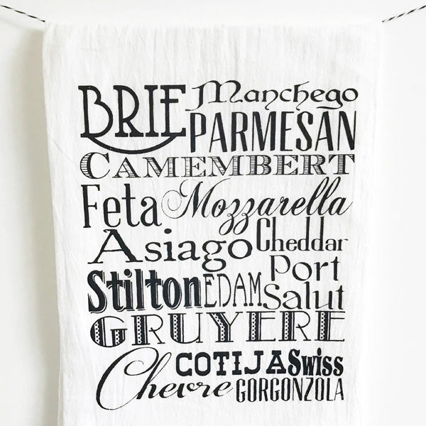 "Add a bit of whimsy to your farmhouse kitchen with our Cheese Please Kitchen Towel. This lint-free 100% cotton towel is a great way to save on paper towel waste. From cleaning windows, to countertops to covering your dough while it rises, these kitchen towels do it all! Printed with earth friendly water based inks and solvents.  28""L x 29""H"