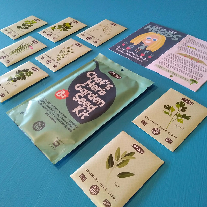 Get growing with our Chef's Herb Garden Seed Kit. Each Seed Kit includes an illustrated grow guide for the rookie gardener. The Chef's Herb Garden Seed Kit includes one pack each of Basil, Cilantro, Chives, Parsley, Oregano, Dill, Thyme and Sage seeds.