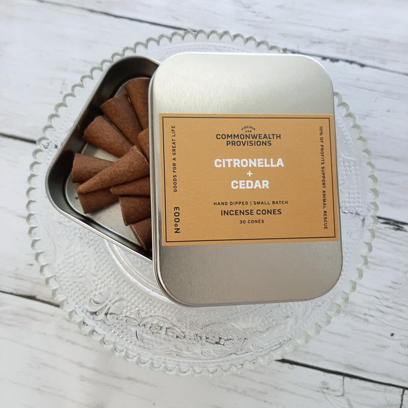 From the backyard to the back-country, these Citronella and Cedar Incense Cones are a must-have for the great outdoors. Citronella blended with the woody notes of cedar infuses your surroundings with the scent of summer campfires while you keep the bugs at bay. For outdoor use. Made in the USA