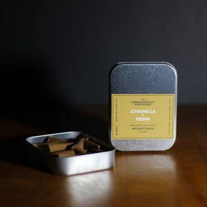 From the backyard to the back-country, these Citronella and Cedar Incense Cones are a must-have for the great outdoors. Citronella blended with the woody notes of cedar infuses your surroundings with the scent of summer campfires while you keep the bugs at bay. For outdoor use.