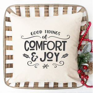 This Comfort and Joy Christmas Pillow Cover adds graceful, fresh and elegant style to your farmhouse. Custom designed and handcrafted in the USA from the highest quality materials. The warm oatmeal linen/polyester blend adds rustic, elegance to any room. Made in the USA