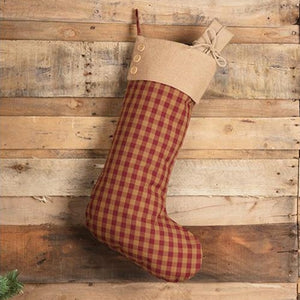 "Country Red Check Stocking Create a primitive style farmhouse Christmas with this Country Red Check Stocking with burlap collar and wood buttons. The burgundy and tan checks offer a classic rustic feel. This Christmas stocking is generous in size, so you can pack with treats. 12""w x 20""H"