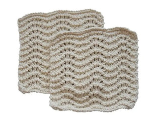 This super soft vintage style Hand-Knit Dish Cloth may bring an old-timey feel to your every day chores, but it packs a ton of modern-day value, too. Handmade of 100% Certified Organic Cotton, this knit dish cloth, with its wave pattern, is designed for scrubbing without scratching. Perfect for stainless steel appliances and glass stove-tops, delicate dishes and wine glasses, as well as countertops, leather furniture and more.