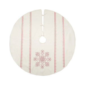 "Celebrate the snowy Nordic style season with this ageless cross stitch design. This beautiful, printed red snowflake is centered between two elegant, Nordic inspired stripes to either side with a warm off-white background, creating a classic look. Finished off with three tie closures, this Cross Stitch Snowflake Printed Tree Skirt will be the center of attention in your holiday decor. 54"" Diam"
