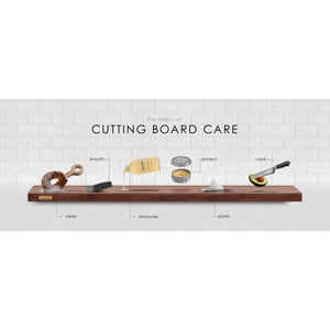 The wood care set includes everything you need to revitalize and protect your wooden cutting board so it will last longer, repel water and stains, prevent cracks and deter bacteria growth. The products are food safe, and handmade with only organic natural ingredients like plant-based oils and natural waxes.  This set isn't just meant for cutting boards, but can be used on Charcuterie Boards, Butcher Block Counters, Salad Bowls, Wooden Utensils, etc. Made in the USA