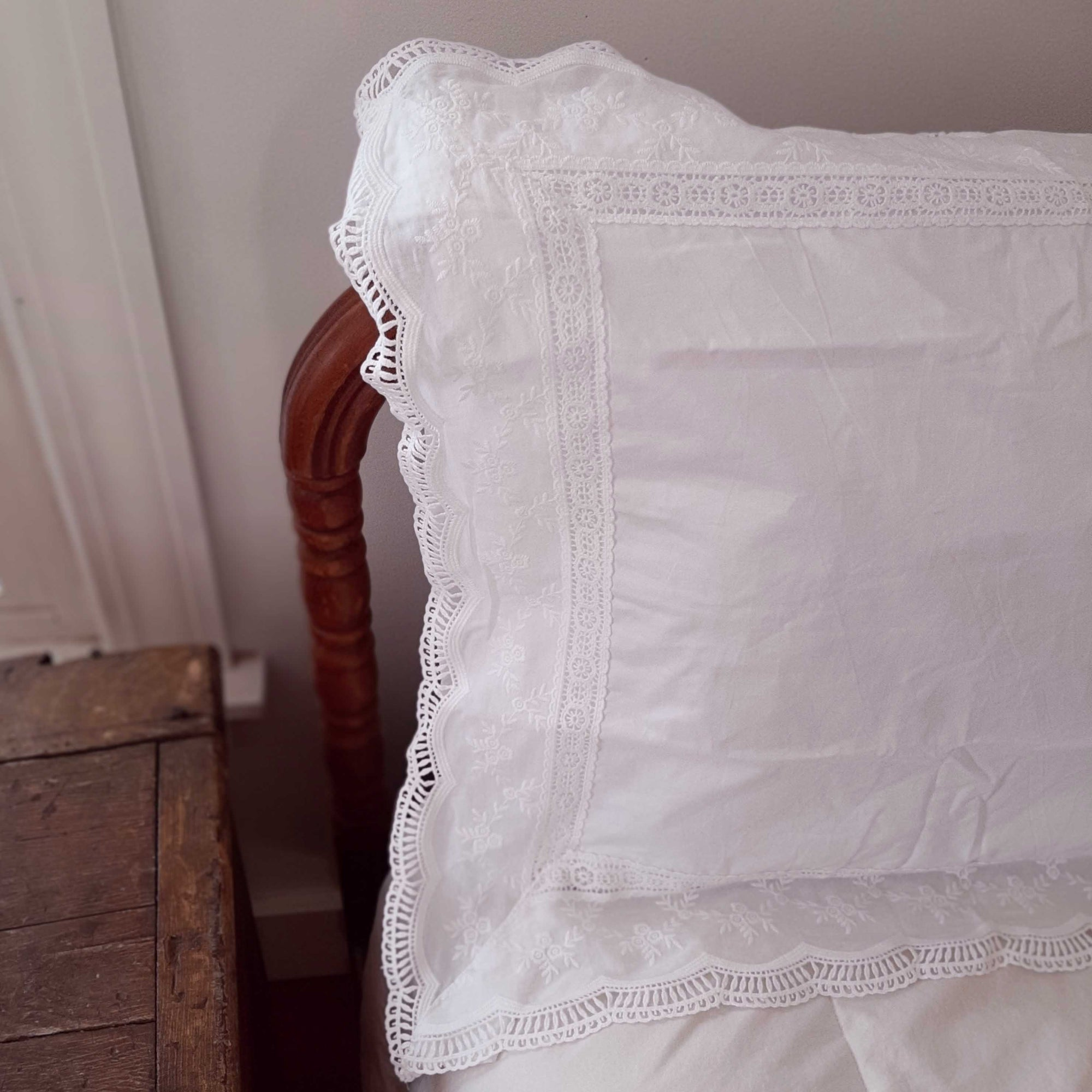 Our Embroidery and Lace Pillow Sham lends a sweet cottage style and create instant vintage charm. This crisp-white sham  features beautiful edging all around with detailed lace and delicate embroidered flowers. This lace edge sham will add texture and a charming vintage look to your room.  Made with 100% cotton, our Embroidery and Lace Pillow Sham has a vintage cotton quality that is soft and breathable without static cling.